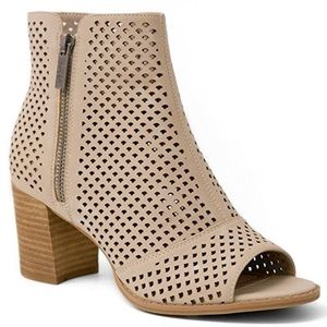 Tan Perforated Peep Toe Booties!